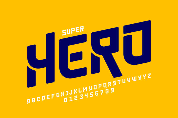 ilustrações de stock, clip art, desenhos animados e ícones de comics super hero style font - japanese font