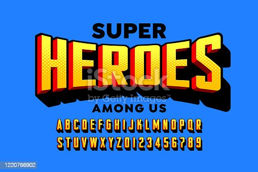 Comics super hero style font design, alphabet letters and numbers vector illustration. Super Heroes among us.