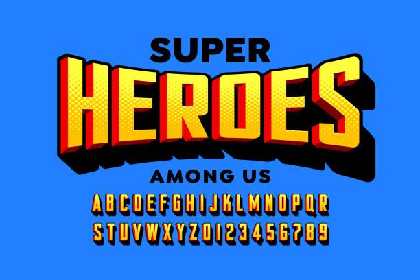 ilustrações, clipart, desenhos animados e ícones de comics super estilo herói fonte - font