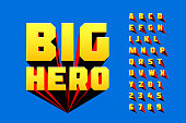 Comics style font design, superhero inspired alphabet, big hero, letters and numbers vector illustration