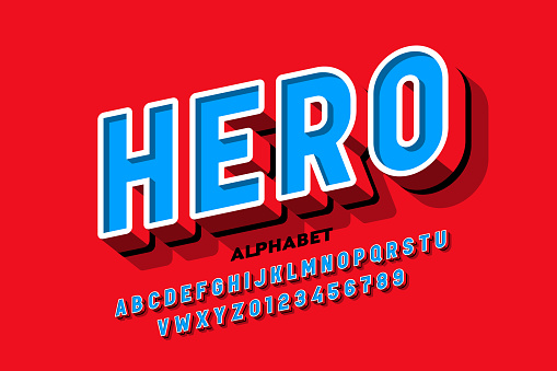 Comics superhero style font, alphabet letters and numbers vector illustration