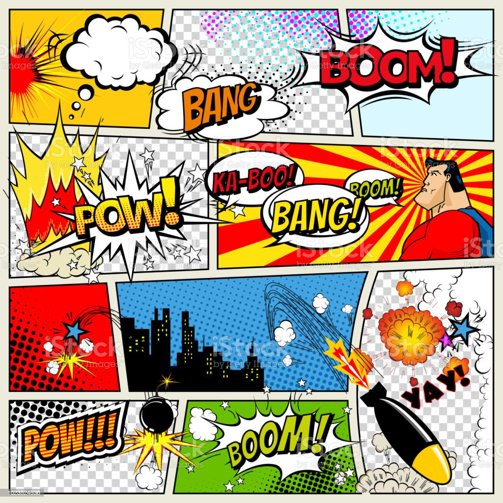 Comics Template Vector Retro Comic Book Speech Bubbles Illustration Mockup Of Comic Book Page With Place For Text Speech Bubbls Symbols Colored Halftone Background And Superhero Stock Illustration - Download Image Now -