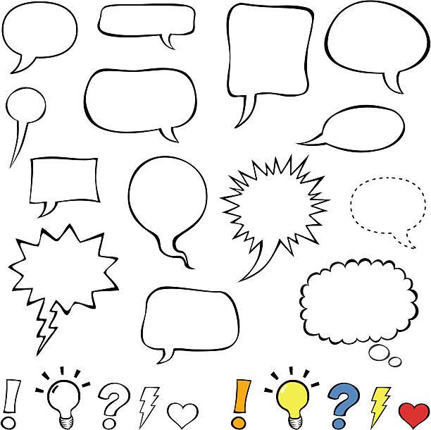 комиксы стиль речи пузыри/воздушные шарики изолированные на белом фоне - lightning stock illustrations