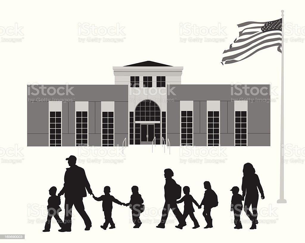 Coming Back from School Vector Silhouette royalty-free stock vector art