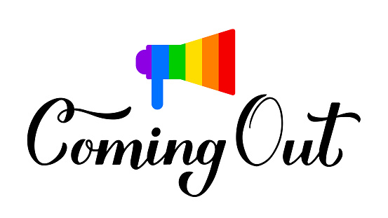 Coming Out calligraphy hand lettering isolated on white. LGBT community concept. Vector template for  banner, typography poster, sticker, t-shirt
