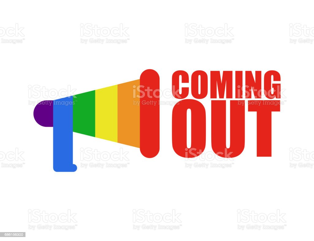 Coming out LGBT sign. Icon social network. Rainbow megaphone. Symbol Recognition of belonging to sexual or gender minority. Lesbians and gays vector art illustration
