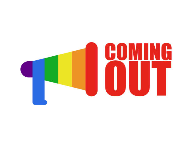 coming out lgbt sign. icon social network. rainbow megaphone. symbol recognition of belonging to sexual or gender minority. lesbians and gays - minority stock illustrations, clip art, cartoons, & icons
