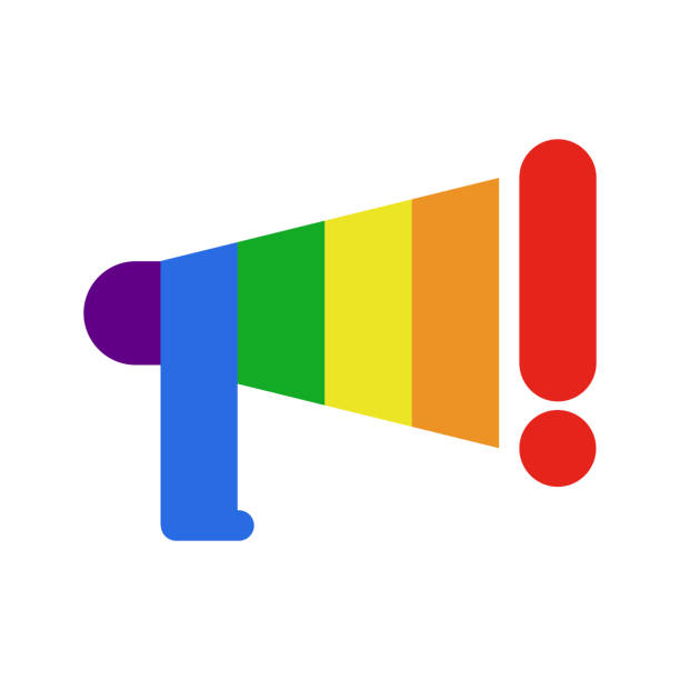 coming out lgbt sign.  message lesbians and gays. rainbow megaphone. icon social network. symbol recognition of belonging to sexual or gender minority. - minority stock illustrations, clip art, cartoons, & icons