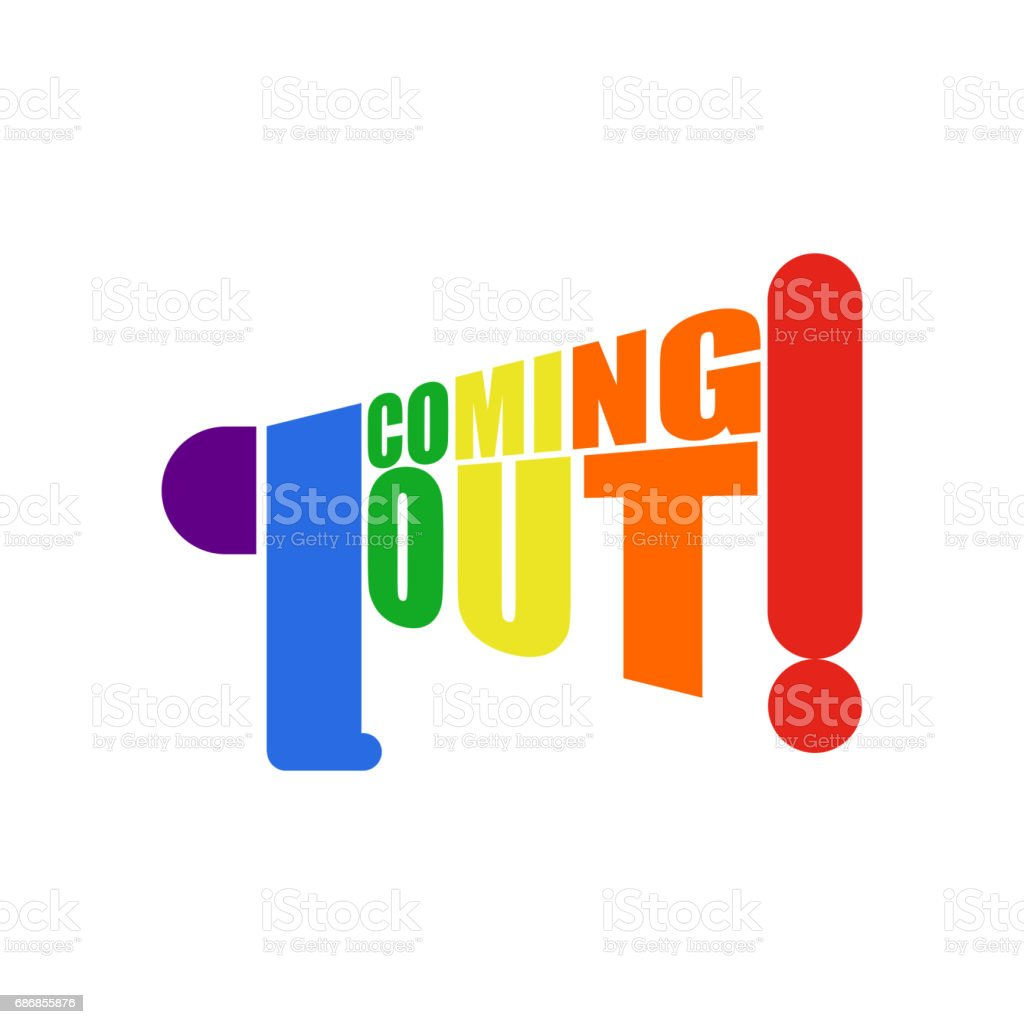 Coming out LGBT sign.  message Lesbians and gays. Rainbow megaphone. Icon social network. Symbol Recognition of belonging to sexual or gender minority. vector art illustration