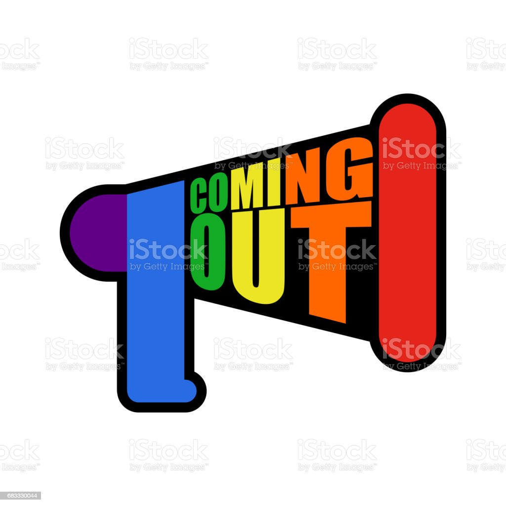 Coming out LGBT sign message. Rainbow megaphone Icon social network. Symbol Recognition of belonging to sexual or gender minority. Lesbians and gays vector art illustration