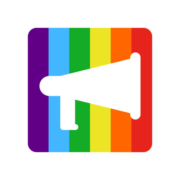 coming out lgbt sign message. rainbow megaphone icon social network. symbol recognition of belonging to sexual or gender minority. lesbians and gays - minority stock illustrations, clip art, cartoons, & icons