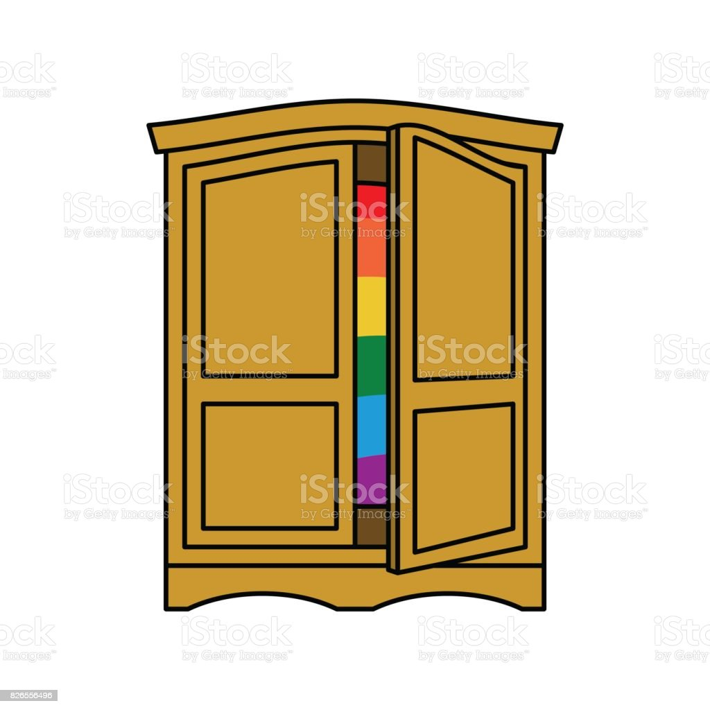 coming out wardrobe lgbt symbol open closet door get out of wardrobe