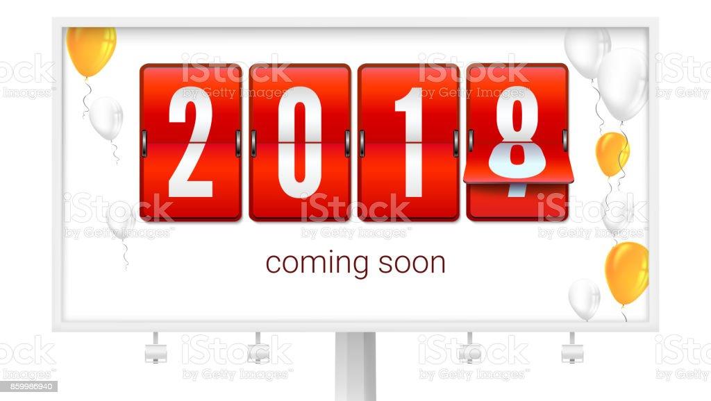 nyår gratulationer Kommer Snart Nyår 2018 Gratulationer Affisch På Billboard  nyår gratulationer