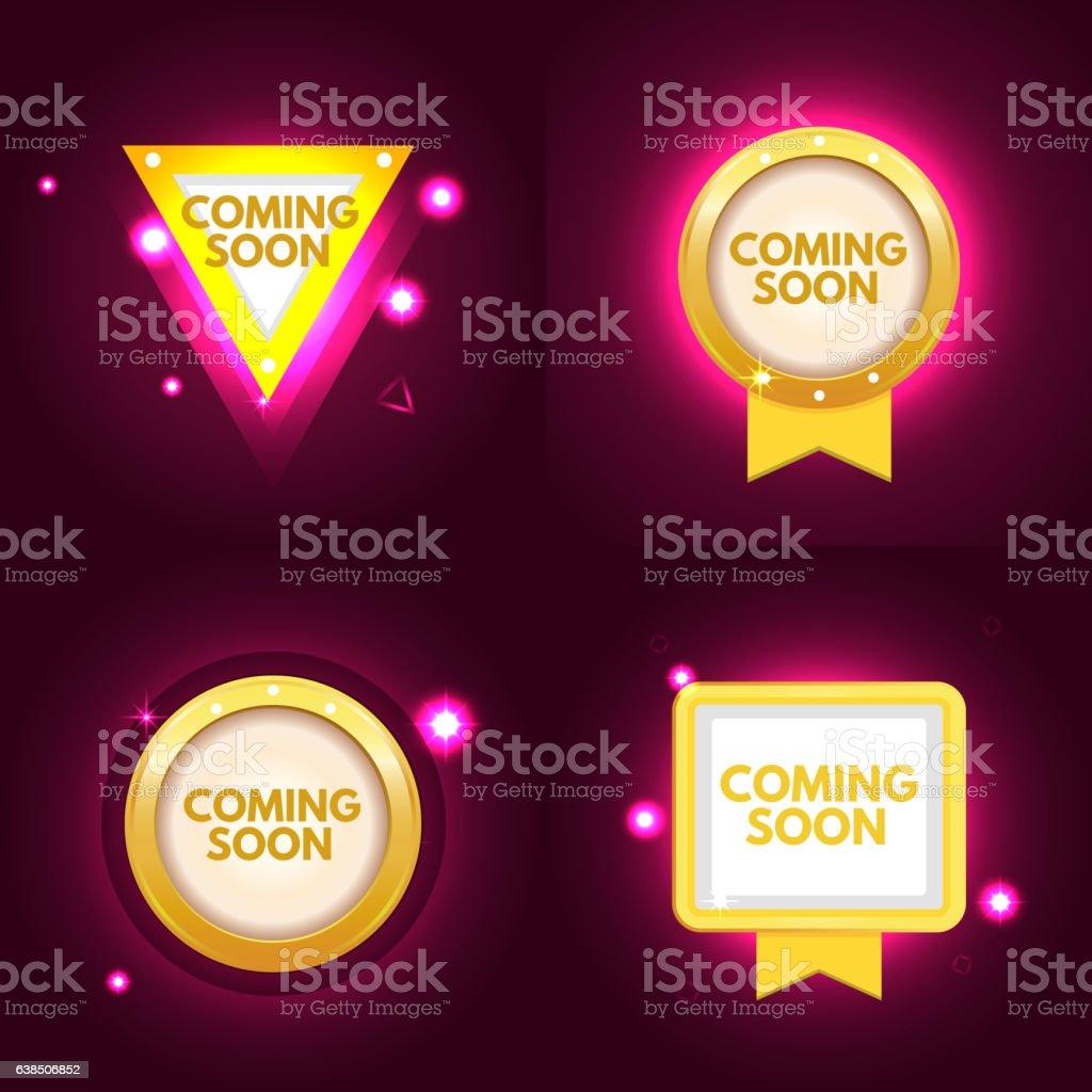 Coming soon banner set - Illustration vectorielle