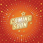 Vector of coming soon headline in orange dotted color background. EPS Ai 10 file format.