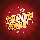 Vector of coming soon headline in dark red color background. EPS Ai 10 file format.