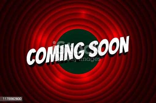 istock Coming soon comic style title on red circle background. Old cinema movie round promotion announcement screen. Vector retro scene advertising poster template illustration 1175562600