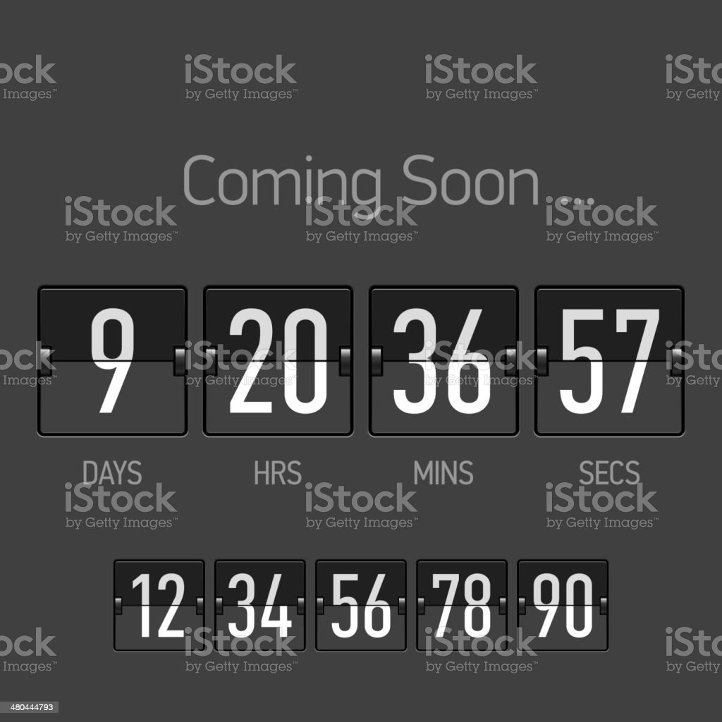 Coming Soon, countdown timer template vector art illustration