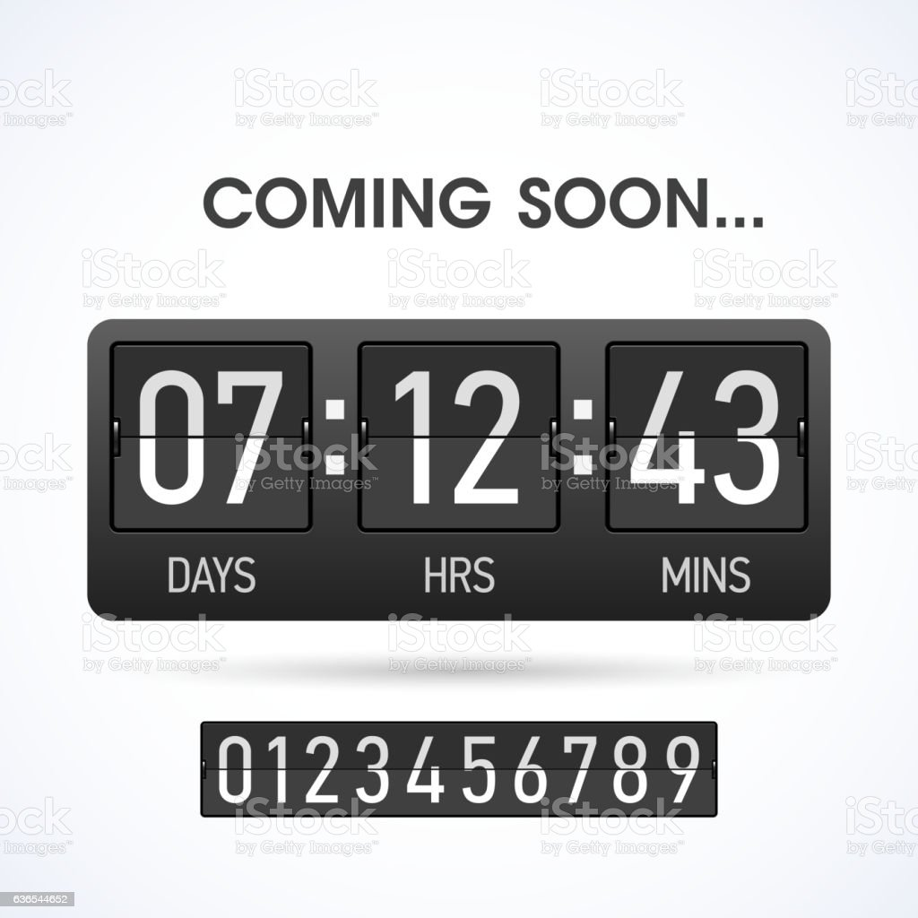 Coming soon countsown timer vector art illustration