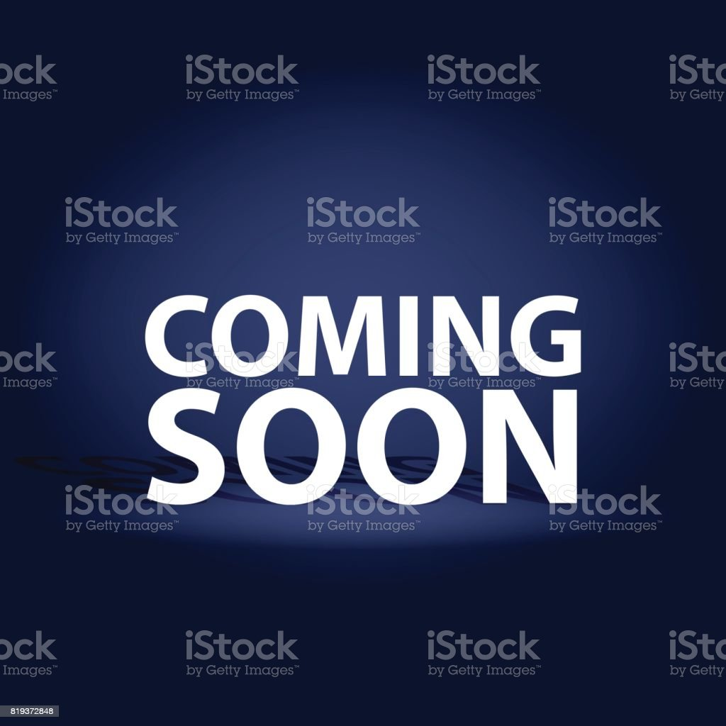 Coming Soon dark realistic poster. Promotion flyer template vector illustration