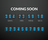 Coming Soon, flip countdown timer panel