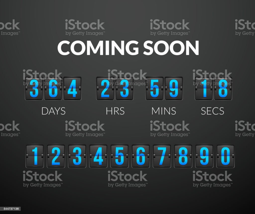 Coming Soon, flip countdown timer panel vector art illustration
