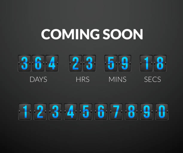 Coming Soon, flip countdown timer panel vector art illustration