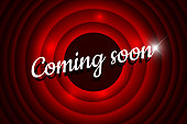 Coming soon handwrite title with flare on red round background. Old cinema movie circle promotion announcement screen. Vector retro scene advertising poster template illustration