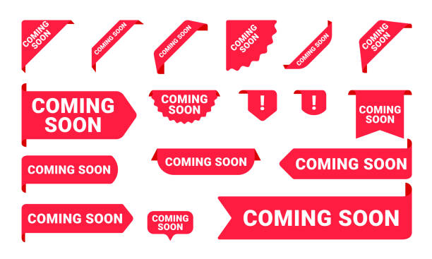 Coming Soon promo banners, stickers and tag labels. Vector isolated red pink shop or store banners and ribbon signs Coming Soon promo banners, stickers and tag labels. Vector isolated red pink shop or store banners and ribbon signs label stock illustrations