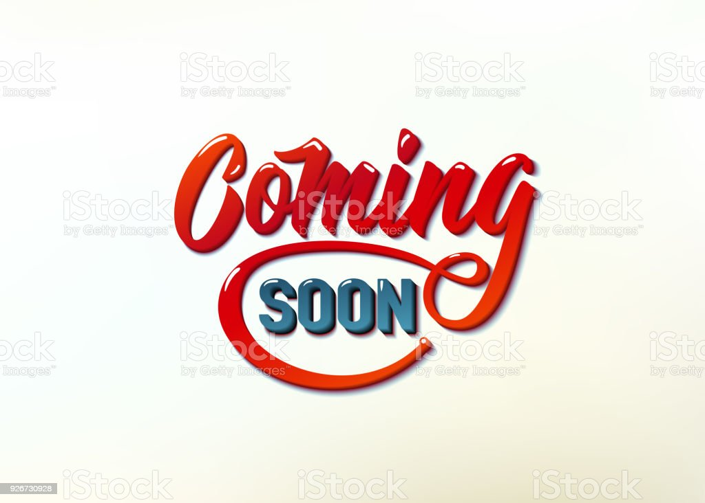 Coming soon sign isolated on white background, retro text red blue color