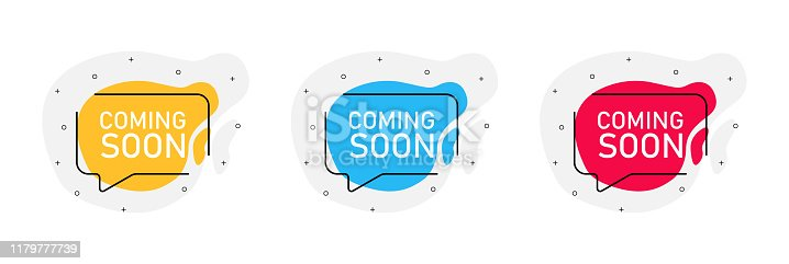 843847560istockphoto Coming soon. Three vector badge illustrations on white background. Quotes yellow, blue and red color. 1179777739