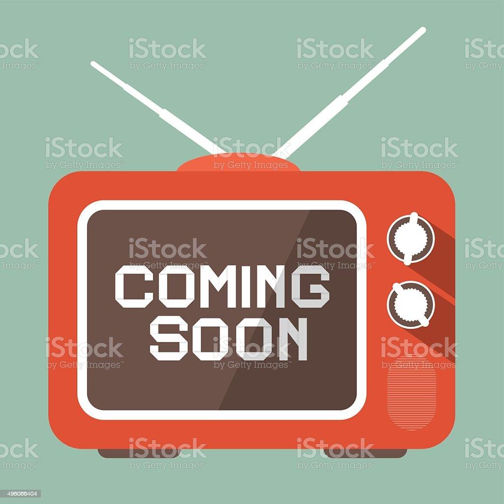 Coming Soon Title on Retro TV Screen vector art illustration