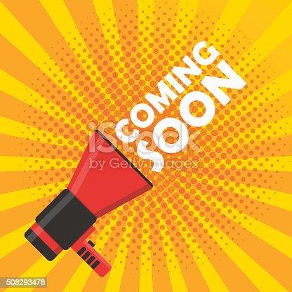 843847560istockphoto Coming soon vector banner. Announcement megaphone 508293478