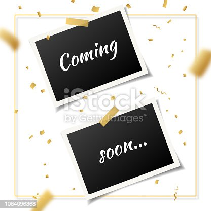 843847560istockphoto Coming soon, vector banner with two vintage photo frames. 1084096368
