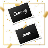 Coming soon, vector sign illustration isolated on white background, new holiday label design for sale, action, opening. Business advertising banner with gold confetti, promotion announce tag, sticker.
