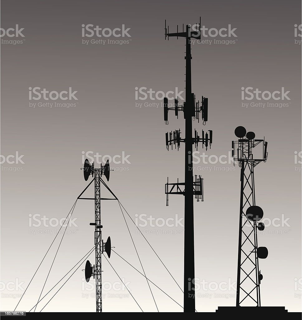 Comm Towers Vector Silhouette royalty-free stock vector art