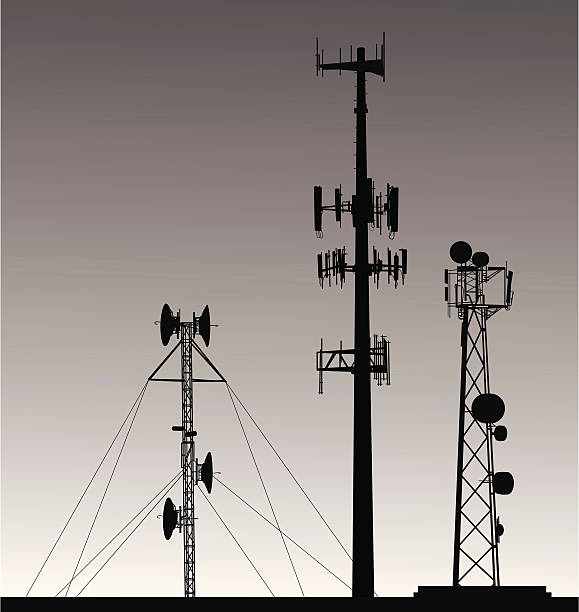 Comm Towers Vector Silhouette A-Digit repeater tower stock illustrations