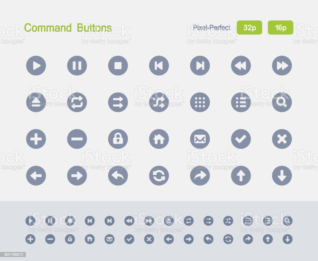 Command Buttons - Granite Icons vector art illustration