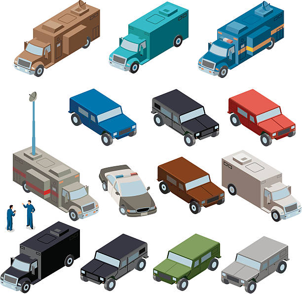 command center and emergency support vehicles - russelltatedotcom stock illustrations