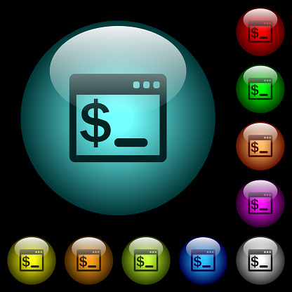OS command terminal icons in color illuminated glass buttons