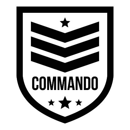 Commando badge logo, simple style