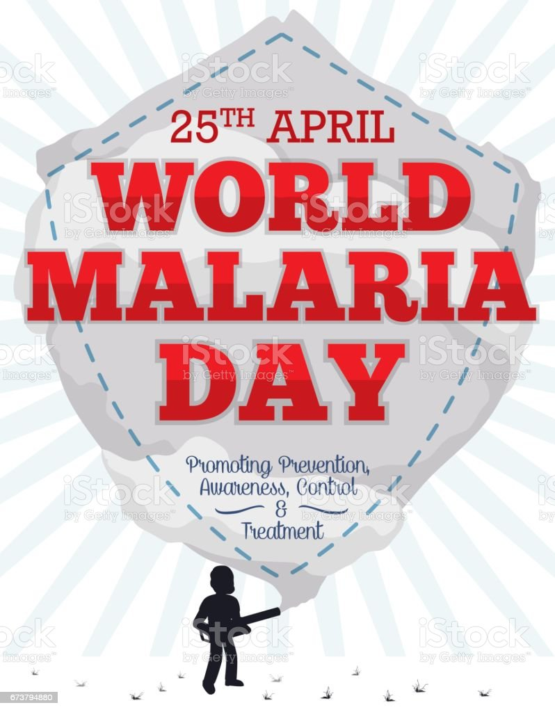 Commemoration Reminder with Fumigation like Shield for World Malaria Day векторная иллюстрация