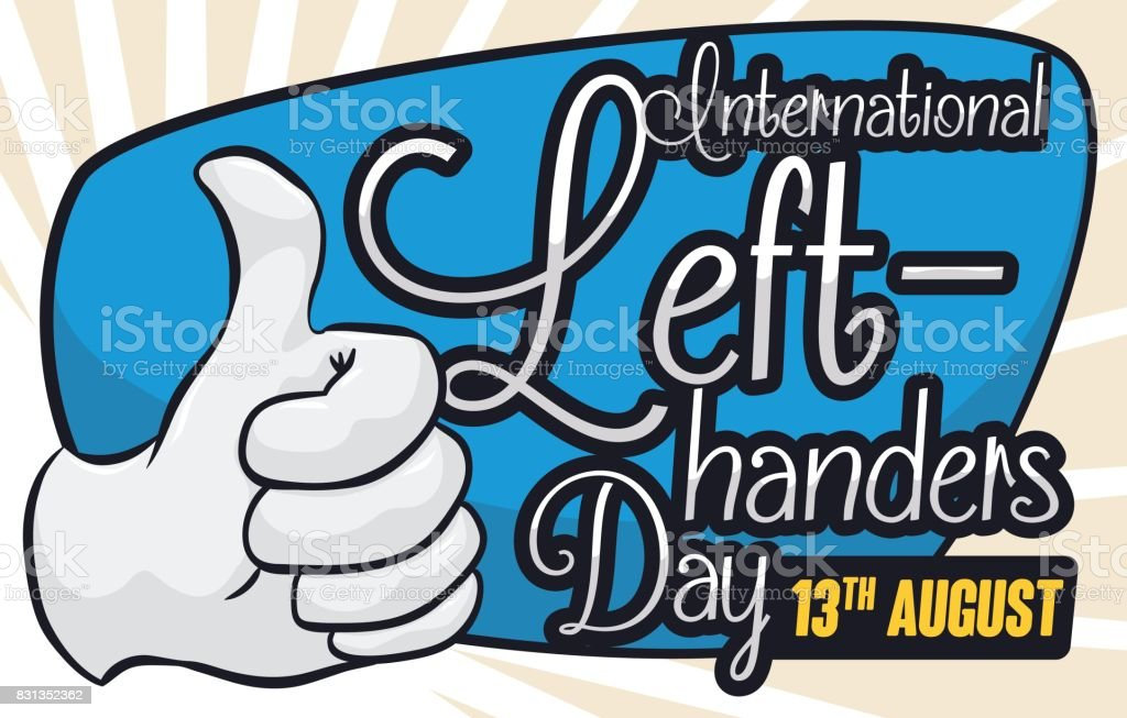 Commemorative Design for International Left-handers Day with Thumb-up Gesture vector art illustration
