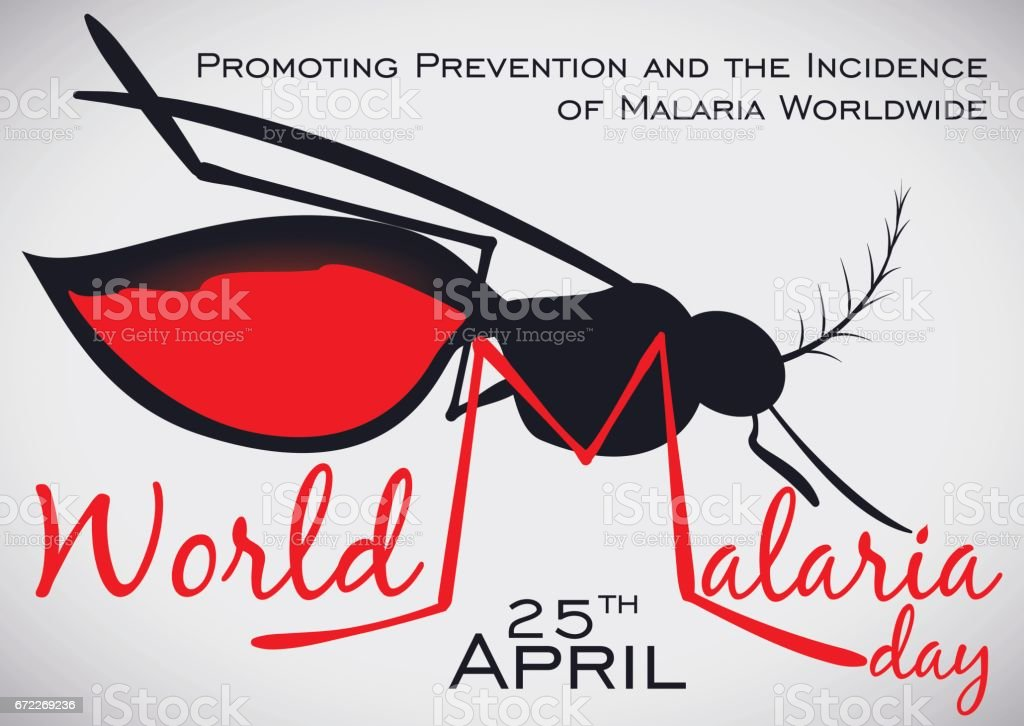 Commemorative Design with Mosquito Silhouette for World Malaria Day Celebration векторная иллюстрация