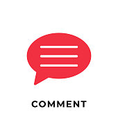 Comment button icon vector for social media. Comment icon Vector illustration design template. Comment icon or button for video channel, blog, social media concept and background banner