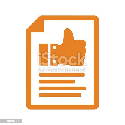 istock Comment Writing Icon, feedback, review submit, orange color 1215687941