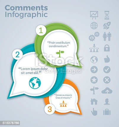 Comments and quotes infographic concept. EPS 10 file. Transparency effects used on highlight elements.