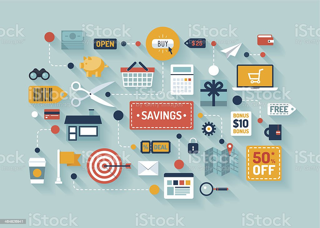 Commerce and marketing elements illustrations vector art illustration