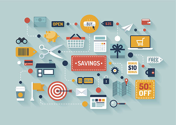 Commerce and marketing elements illustrations Flat design vector illustration concept with icons of retail commerce and marketing elements such as promotion, coupon, discount and various shopping and money economy sign and symbol. Isolated on stylish color background budget designs stock illustrations