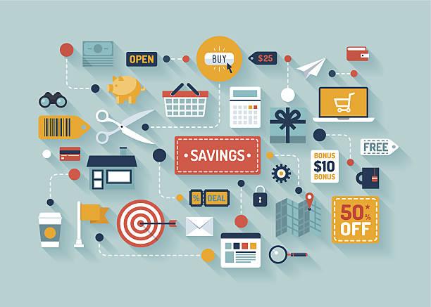 ilustraciones, imágenes clip art, dibujos animados e iconos de stock de commerce y comercialización elementos ilustraciones - infografías de precios